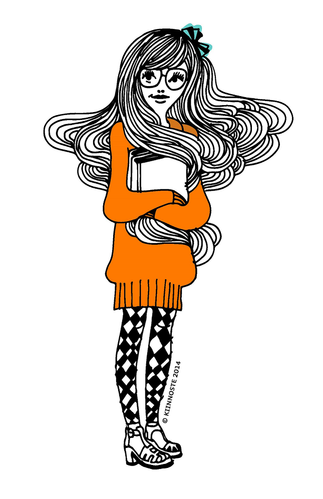 Piirroskuva kirjoja sylissä pitävästä tytöstä.