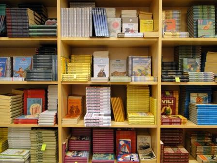Valokuva kirjahyllystä, jossa kirjapinoja.