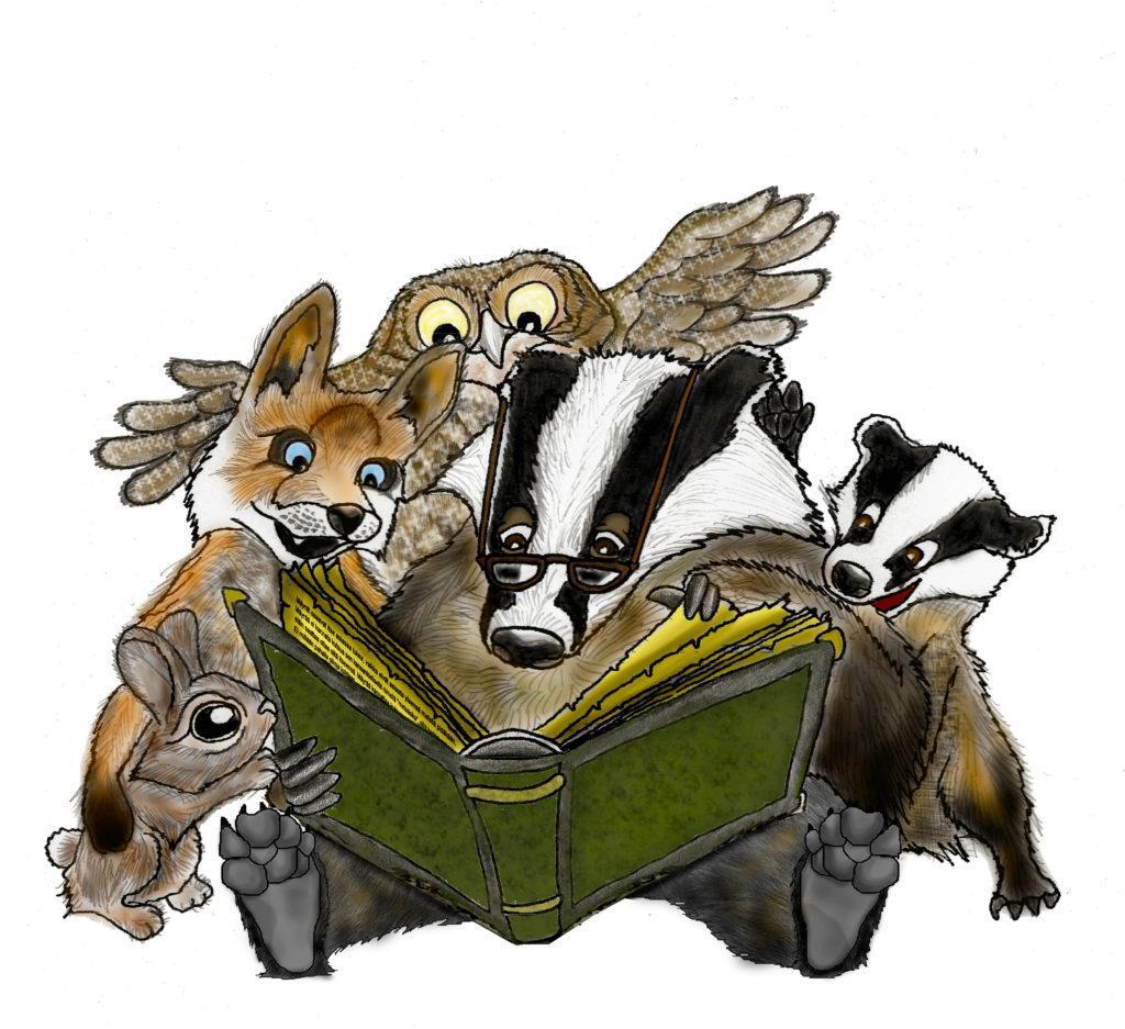 Satutuokiot alkavat kirjastossa. Kuva eläimistä lukemassa kirjaa.
