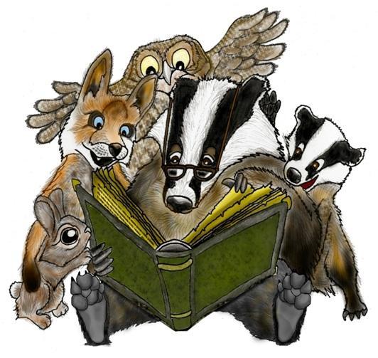 Piirroskuva metsän eläimistä kokoontunena kirjan ääreen.
