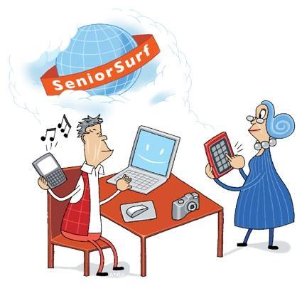 Piirroskuva miehestä ja naisesta tietokoneen ja mobiililaitteiden äärellä.