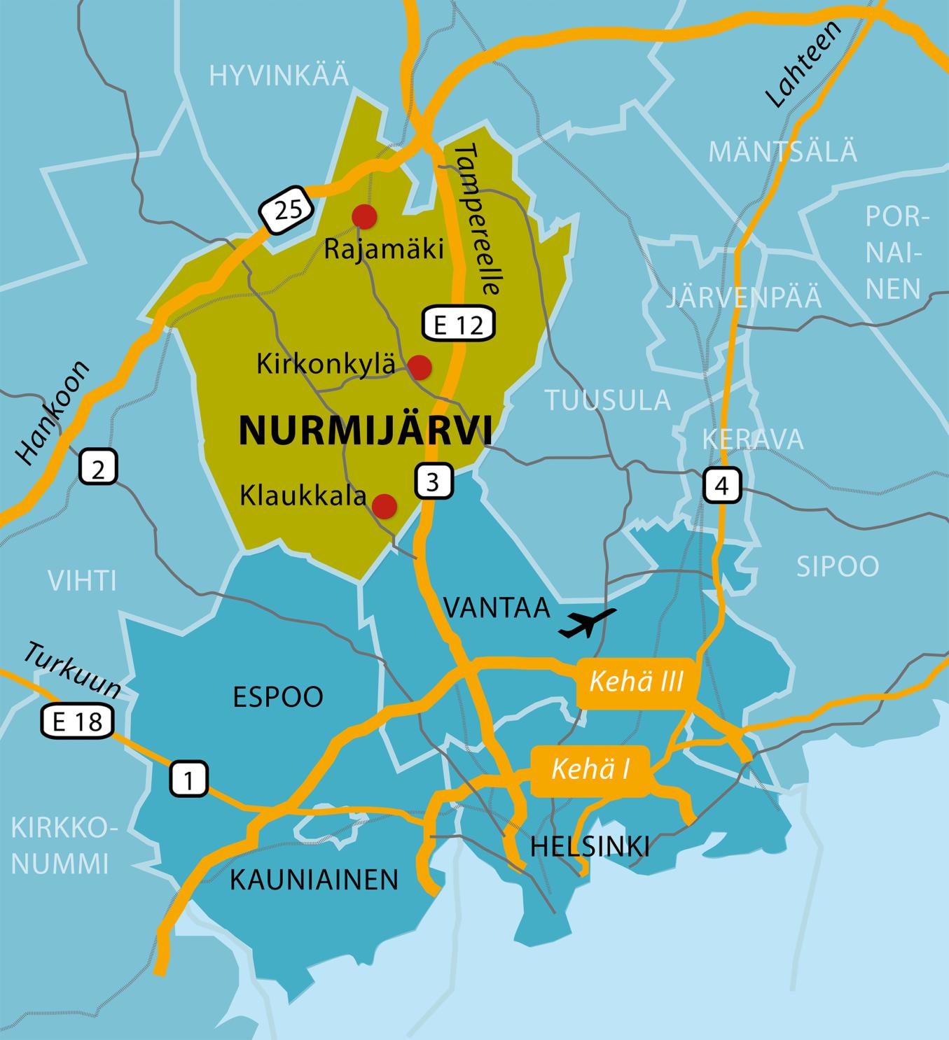 Nurmijärven sijainti kartalla.