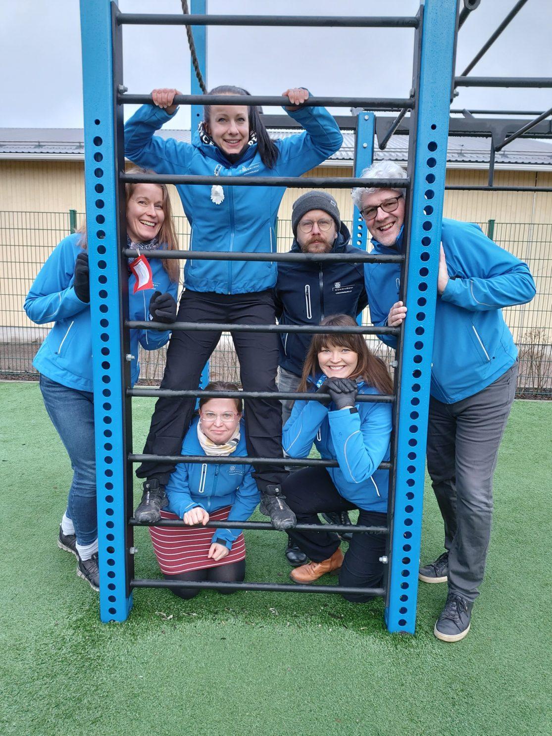 Liikuntapalveluiden työntekijät: Jonna S., Heli, Jonna K., Toni, Petra ja Antero