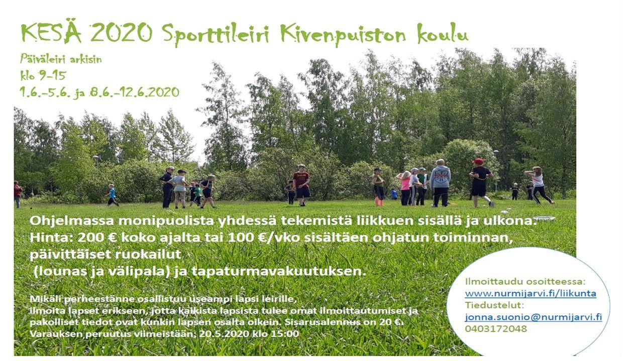 Liikuntapalveluiden järjestämä lasten kesäleiri Kivenpuistossa ma-pe 1.6-12.6.2020