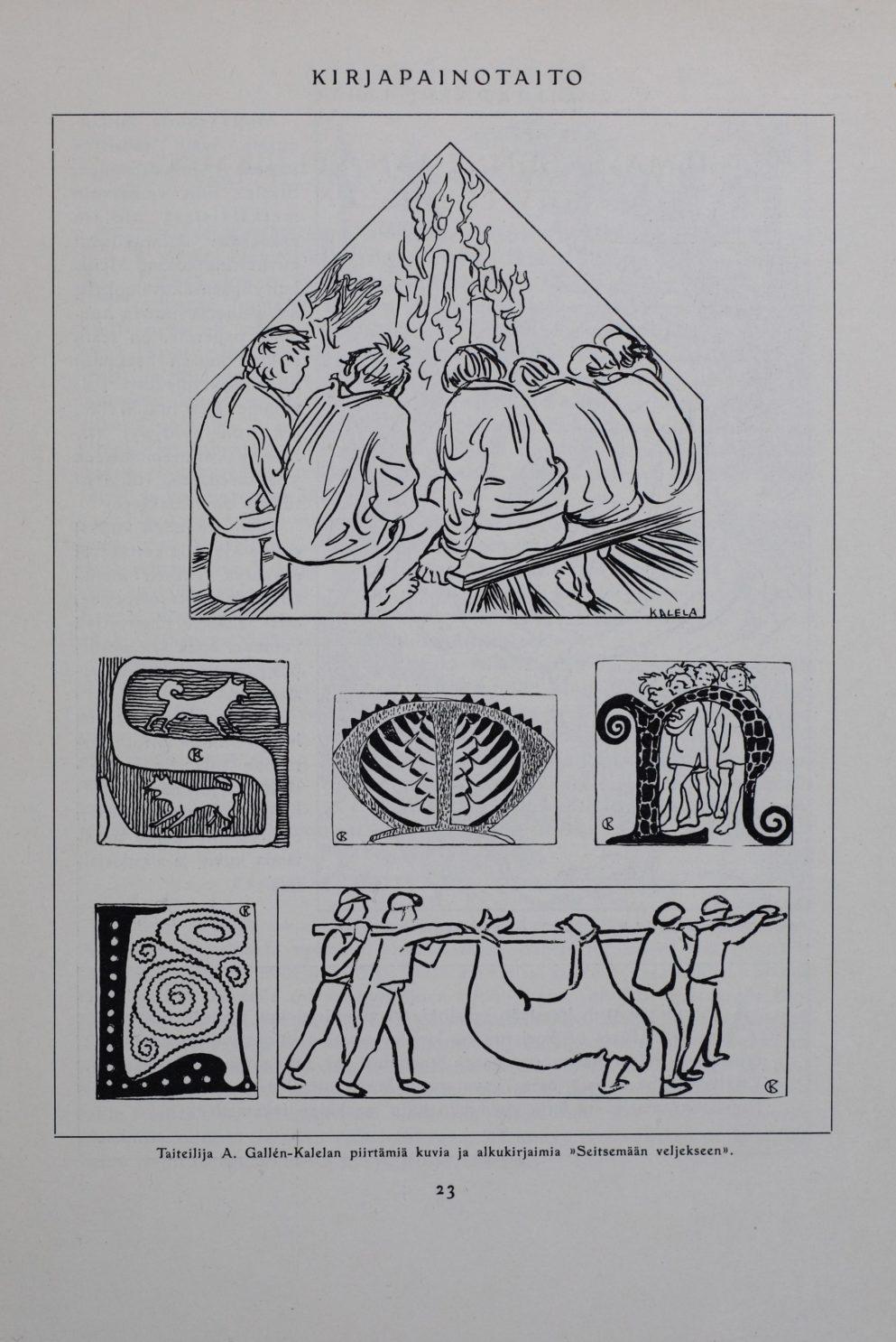 Akseli Gallen-Kallelan kuvitusta esiteltiin ennen kirjan julkaisua Kirjapainotaito-lehdessä.