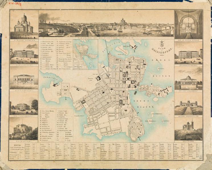 Helsingin kartta vuodelta 1860