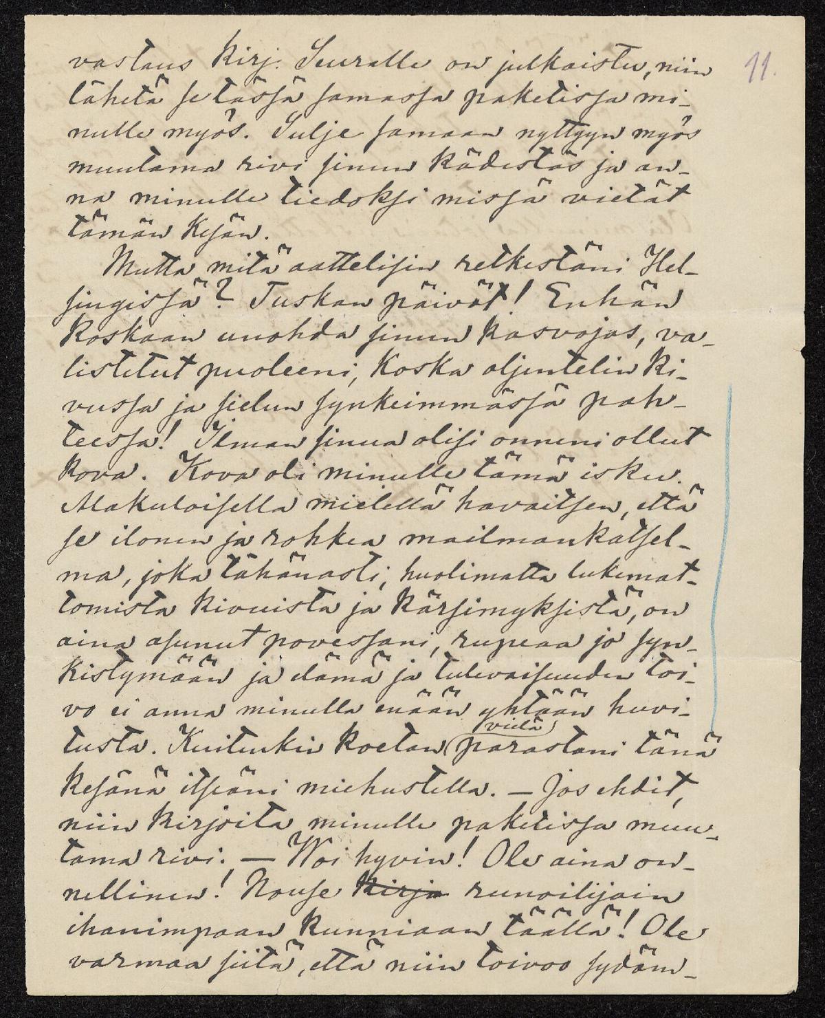 Sivu Aleksis Kiven kirjeestä ystävälleen Kaarlo Bergbomille.