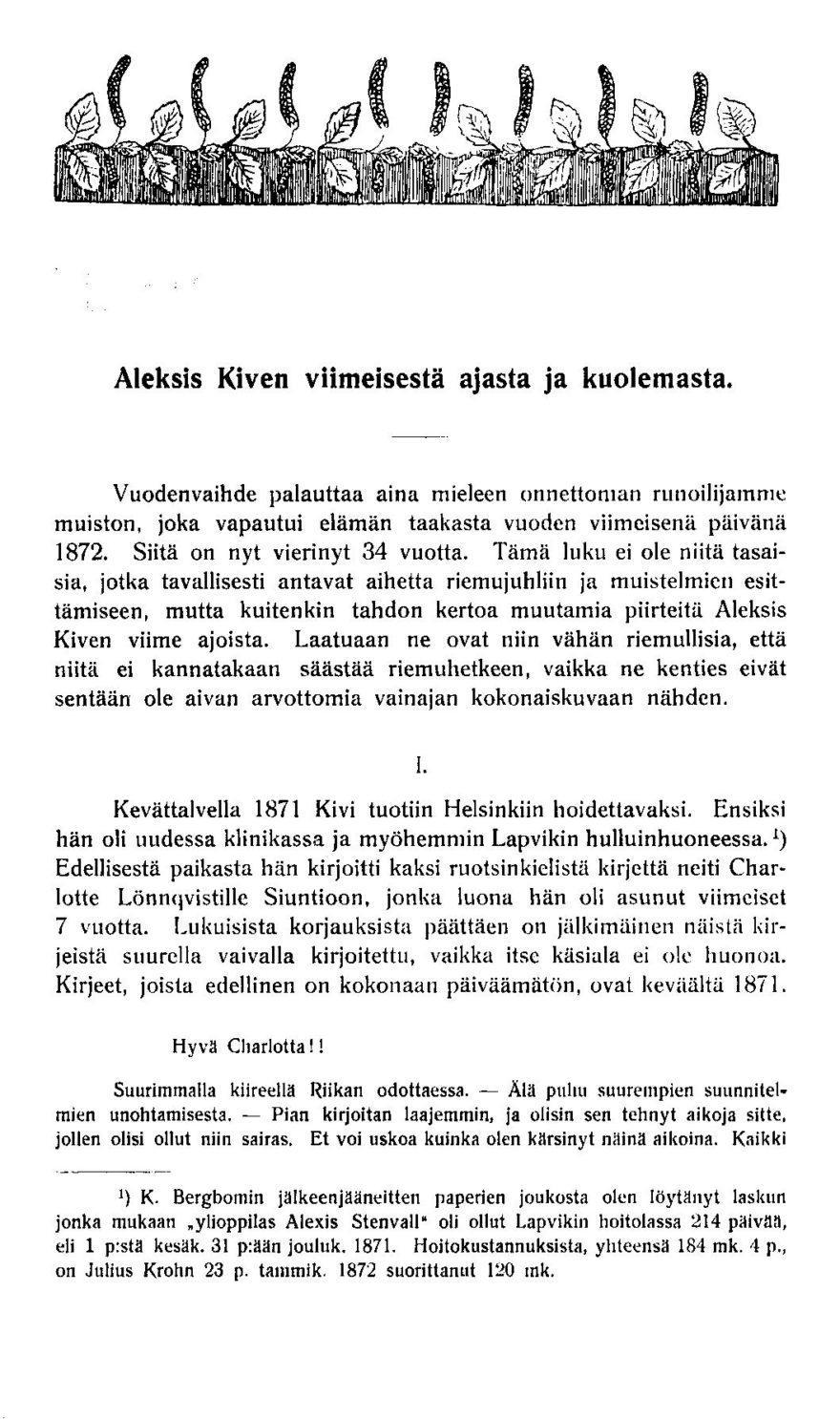 """Eliel Aspelin-Haapkylän kirjoitus """"Aleksis Kiven viimeisestä ajasta ja kuolemasta"""""""