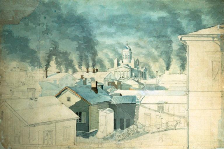 Kylmä talviaamu Helsingissä, Magnus von Wright