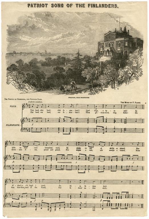 Litografia 1850-luvulta. Maamme-laulun nuotit ja sanan ruotsiksi ja englanniksi. Nuottien yläpuolella kuva ruhtinatar Jusupoffin huvilasta Kaivopuistossa,