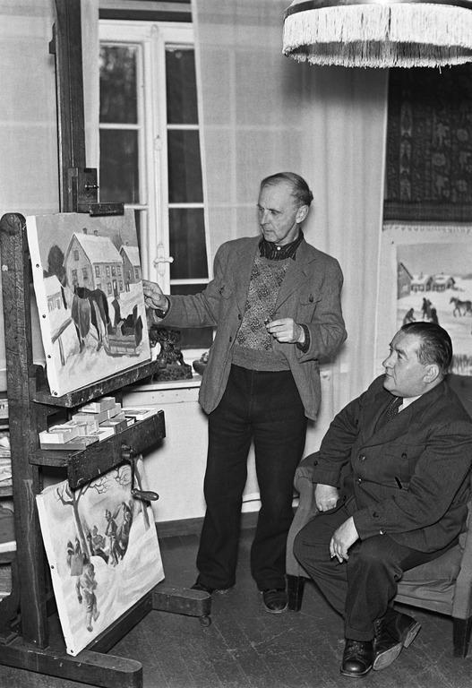 Taidemaalari Marcus Collin ateljeessaan, kuvattu ennen vuotta 1949.