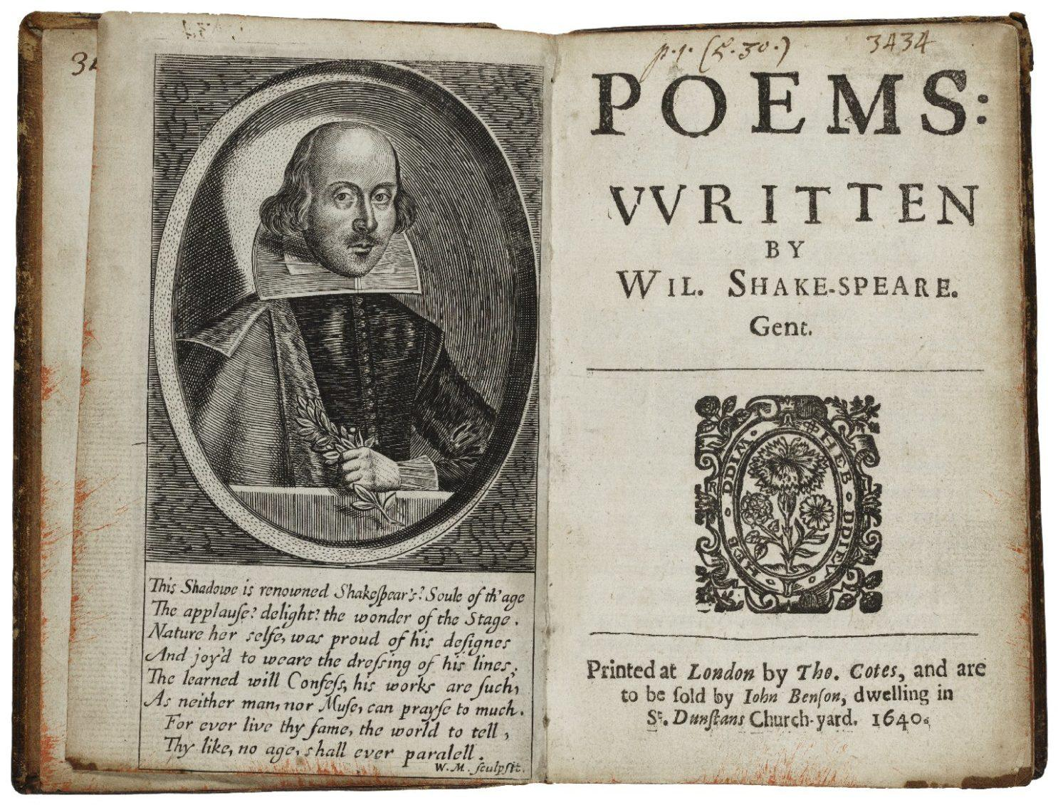 Kuvassa teos Poems: vvritten by Wil. Shake-speare. Gent., Tho. Cotes/ London 1640.