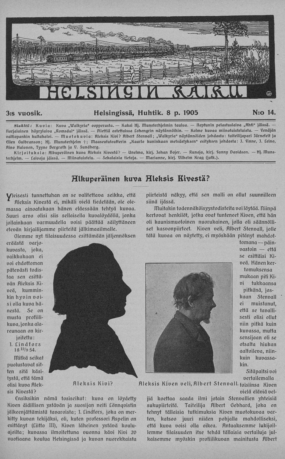 """Kansan Kuvalehdessä 1934 julkaistu """"kätkössä ollut"""" Aleksis Kiven siluettikuva"""