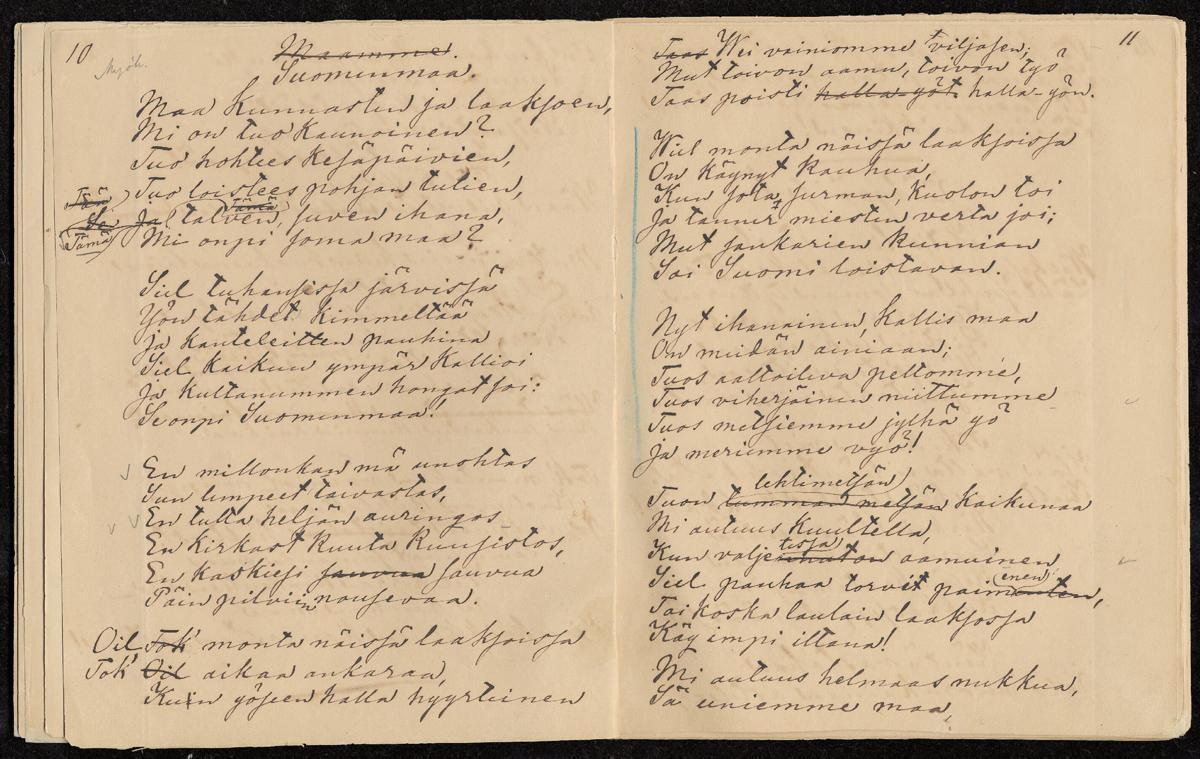 Suomenmaa -runo, käsinkirjoitettu