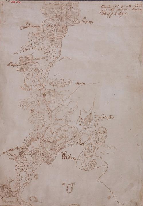 Vantaanjoen laakso. Vanhakaupungin, Viikin, Tuomarinkylän ja Tapaninkylän alueita esittävä kartta vuodelta 1868