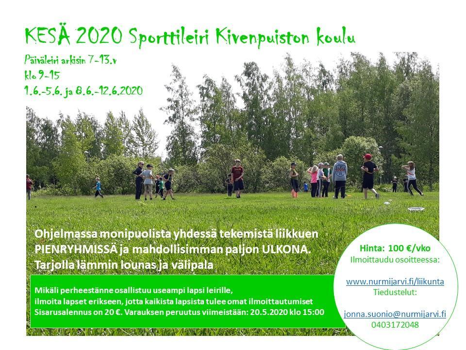 Liikuntapalveluiden lasten kesäleiri Kivenpuiston koululla kesäkuussa 1.6-12.6 arkipäivisin.