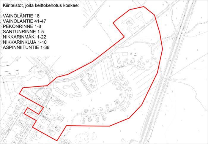 Vedenkeittokehotusalue kirkonkylän Väinöläntien ja Nikkarinmäen alueella