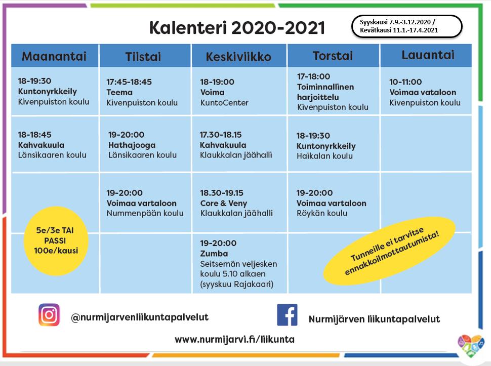 liikuntakalenteri 2020 syksy