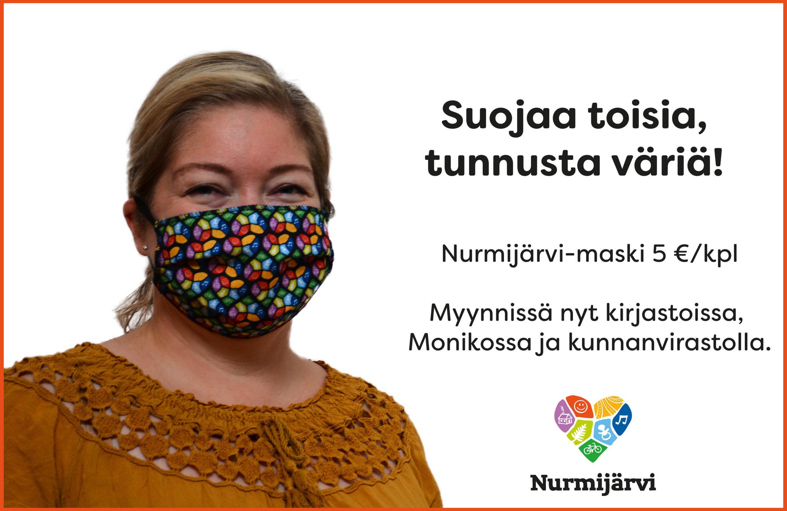 Kasvomaski Nurmijärven logon väreissä..