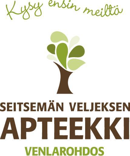 Seitsemän veljeksen apteekin logo, joka on myös linkki yrityksen ilmastotyökyselyn vastauksiin.