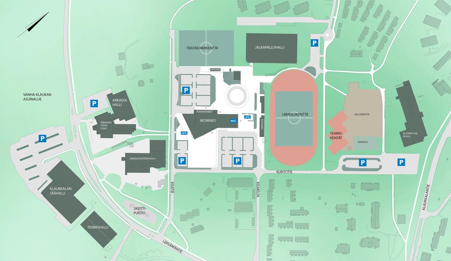 Vanha-Klaukka ja Klaukkalan kampusalueen kartta