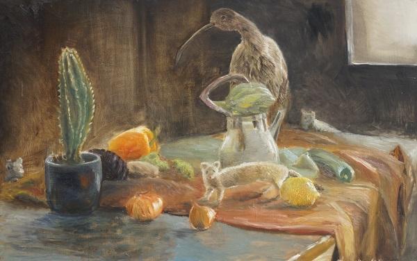 Maalaus pöydästä, jonka päällä hedelmiä ja eläimiä.