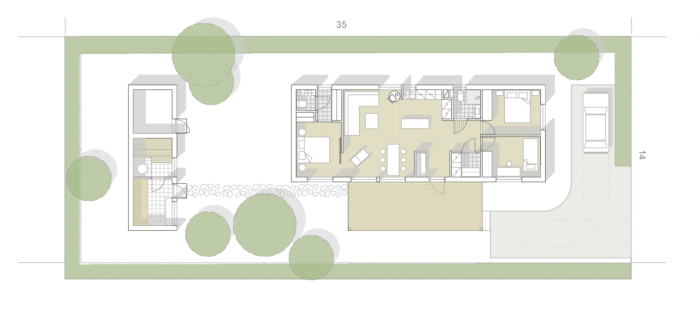 Minitalon pohjapiirros. Talossa on kolme makuuhuonetta, tupakeittiö, kylpyhyone ja kaksi wc:tä sekä pihasauna.