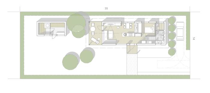 Minitalon pohjapiirros. Talossa on makuuhuone, tupakeittiö, sauna/wc/kph ja khh ja pihasauna.