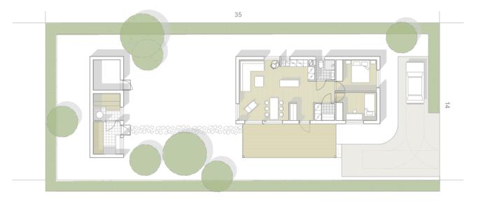 Minitalon pohjapiirros. Talossa on kaksi makuuhuonetta, tupakeittiö jawc/kph ja khh sekä pihasauna/varasto.