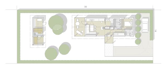 Minitalon pohjapiirros. Talossa on 1 huone ja tupakeittiö sekä sauna ja iso terassi.