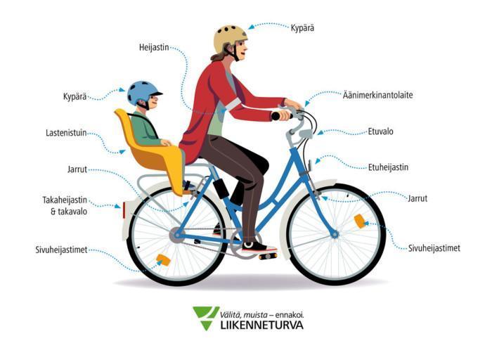 Nainen ajaa polkupyörällä lapsi kyydissä.