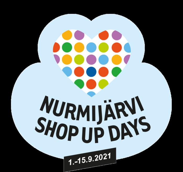 Nurmijärvi Shop Up Days 2021 -logo. Värikkään pilkullinen sydän ja teksti.