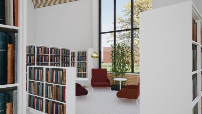 Kirjahyllyjen lomassa kolmen nojatuolin ryhmä, pöytä, lamppu ja viherkasvi.